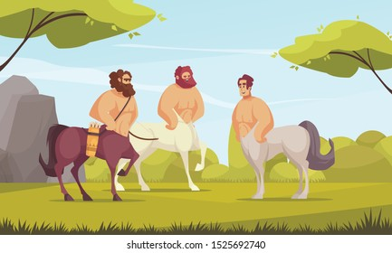 Mythical creatures centaurs three ancient greek half-man half-horse chimeras in meadow flat cartoon vector illustration
