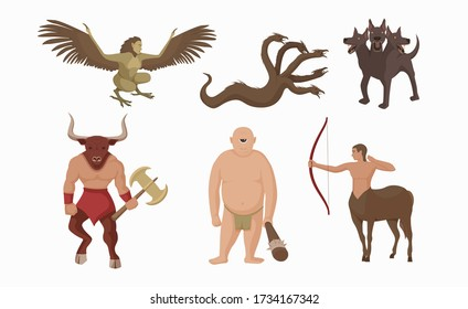 Mythical creatures greece. Ancient greek mythological characters centaur with bow minotaur battle ax one eyed cyclop vector club harpy multi headed hydra three headed cartoon cerberus guarding hades.
