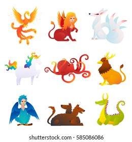 Mythical and fantastic creatures set with phoenix sphinx kitsune unicorn kraken griffin harpy cerberus dragon isolated vector illustration