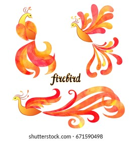 Mythical Firebird set. Watercolor flaming Phoenix symbols isolated on white background. Vector illustration.