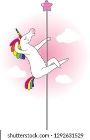 Mythical funny creature unicorn as pole dancer