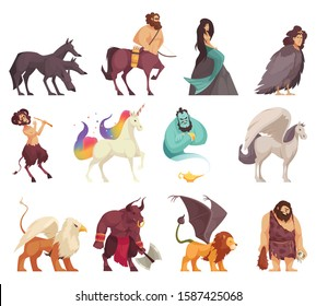 Mythical magical creatures spirits monsters cartoon stile icons set with cyclops mermaid centaur unicorn cerberus vector illustration