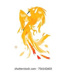 Mythical, mythological, fictional phoenix bird character, rebirth, renewal symbol, flat cartoon vector illustration isolated on white background. Mythical phoenix bird creature from fairy tales