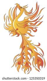 Mythical phoenix bird vector illustration