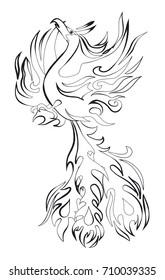 Mythical phoenix bird vector illustration. Zentangle phoenix. Phoenix for tattoo. Black and white phoenix.
