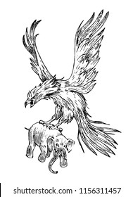 Mythical Phoenix fire bird or antique Roc. Ancient Mythology animal, creature in the old vintage style. eagle with an elephant. Engraved hand drawn old sketch.