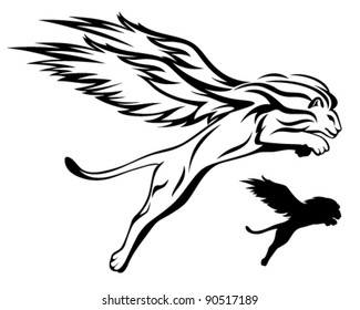 mythical winged lion vector illustration