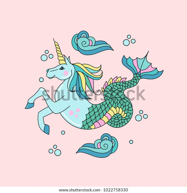 Mythological creature. The sea unicorn. Horse with a horn and a fish tail. Vector illustration.