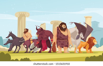 Mythological creatures among ancient greek temple ruins cartoon composition with cyclopes minotaur centaur winged lion vector illustration