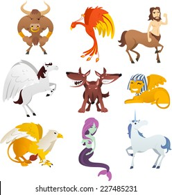Mythological Creatures and animals, with unicorn, Phoenix, sphinx, centaur, pegasus, bird, cerberus, griffin, pharaoh and Eagle vector illustration.
