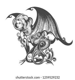 Mythological Female Demon Succubus drawn in tattoo style. Vector illustration.