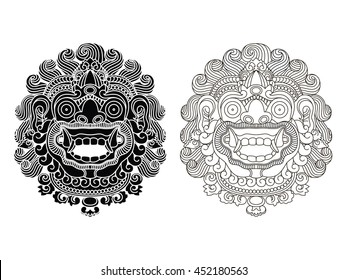 Mythological god's masks. Balinese style. Barong EPS10