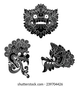 Mythological god's masks. Indonesian art. EPS10.