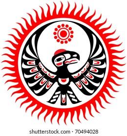 Mythological image eagle and sun
