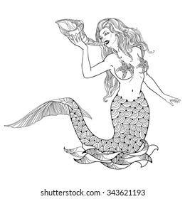 Mythological mermaid or water nymph with horn in hand isolated on white background. The series of mythological creatures