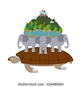 Mythological planet earth. turtle carrying elephants. Ancient representation of world