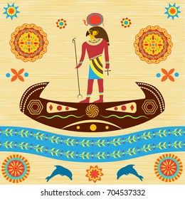 The mythological Ra, the God of ancient Egypt, floats in a boat across the sky. Represented traditional Egyptian and African patterns on the background of papyrus or antique fabric.