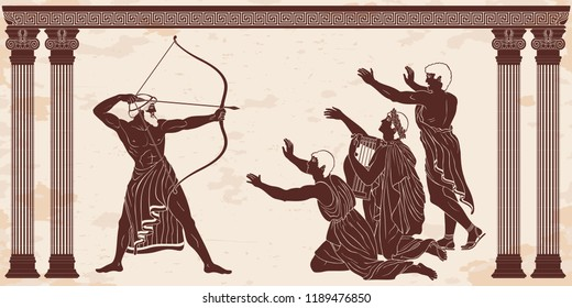 Mythological story of Homer. Odyssey kills the suitors of Penilope. An archer with weapons in his hands and men on their knees. Figure on a beige background with the aging effect.