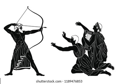 Mythological story of Homer. Odyssey kills the suitors of Penilope. An archer with weapons in his hands and men on their knees. Figure isolated on white background.