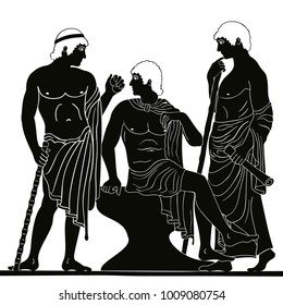 Mythological story. Three ancient Greek mans stands with a staff and a paryrus in the arms and talks. Vector image stylized as an antique painting.
