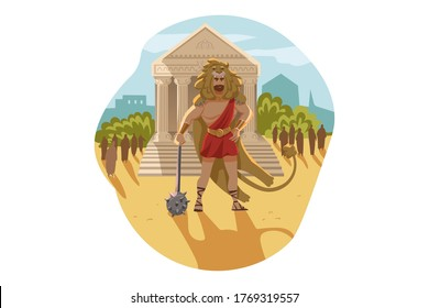 Mythology, Greece, Olympus, god, Heracles, religion concept. Ancient Greek religious myths illustration series. Hercules hero son of Zeus demigod stands with club and nemean lion skin as First Feat.
