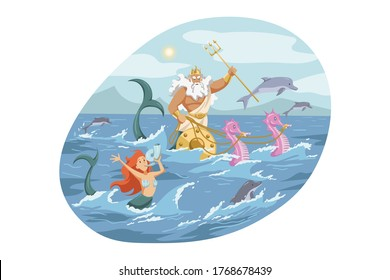 Mythology, Greece, Olympus, god, Neptune, religion concept. Ancient Greek religious myths illustration. Poseidon with trident Zeus brother rides chariot with seahorses on ocean and deity of sea storm.