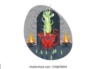 Mythology, Greece, Olympus, legend, religion concept. Cerberus three heads dog hell hound olympian god Hades servant stands guard of underworld gate. Ancient Greek religious myths illustration series.