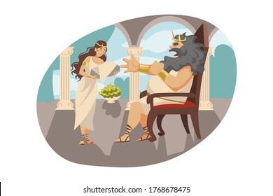 Mythology, Greece, Olympus, legend, religion concept. Ancient Greek religious myths illustration series. Cronus titan father of Zeus wanting to eat his son and mother wife Rhea giving stone instead.