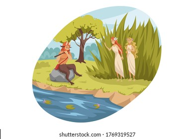 Mythology, Greece, Olympus, legend, religion concept. Ancient Greek religious myths illustration series. Satyr demon from suite of Dionysus playing flute for two young girls nymphes nature patroness.