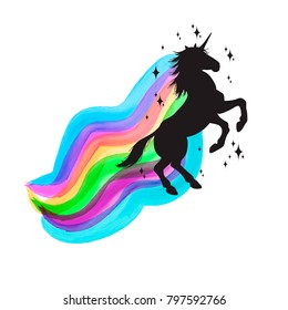 Mythology illustration set of unicorn silhouette, unicorn with watercolor