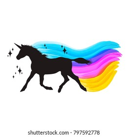 Mythology illustration set of unicorn silhouette, unicorn with watercolor