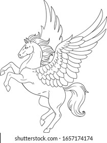 Mythology pegasus. Isolated outline for coloring book