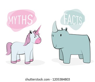 Myths and facts concept: Unicorn and rhinoceros