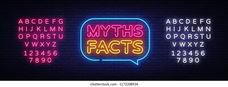 Myths Facts Neon Text Vector. Myths Facts neon sign, design template, modern trend design, night neon signboard, night bright advertising, light banner, light art. Vector. Editing text neon sign