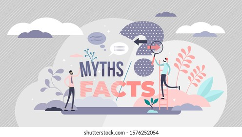 Myths and facts vector illustration. Information accuracy in flat tiny persons concept. Fake news versus trust and honest data source. Fiction authenticity research and checking. Verify rumors scene.
