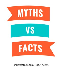 Myths vs facts. Flat vector icon,  symbol, design illustration on white background.