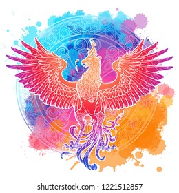 Mythycal bird Phoenix. Samsara wheel on a background. Sycle of life and death, symbol of rebirth. Tattoo, textile, poster design. Sketch isolated on textured watercolor background. EPS10 vector.