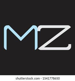 MZ Abstrac logo vector Monogram isolated on black background
