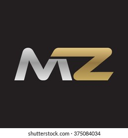 MZ company linked letter logo golden silver black background