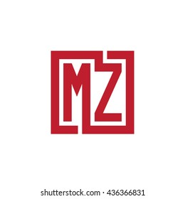 MZ initial letters looping linked square logo red