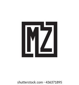 MZ initial letters looping linked square monogram logo