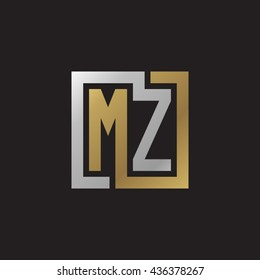 MZ initial letters looping linked square elegant logo golden silver black background