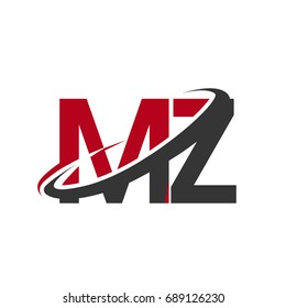 MZ initial logo company name colored red and black swoosh design, isolated on white background. vector logo for business and company identity.