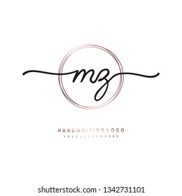 MZ initial signature logo. handwriting logo template vector,