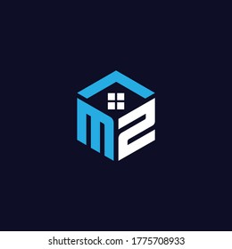 MZ Letter Real Estate Monogram Logo Design and Icon vector Editable
