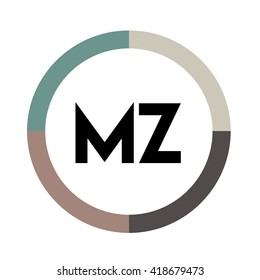 MZ letters, four colors in abstract background logo, design identity in circle, alphabet letter