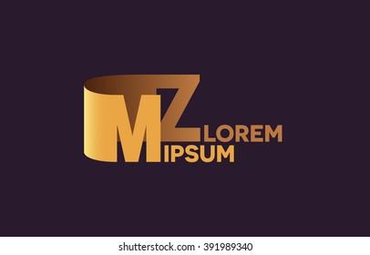 MZ letters logo, M and Z letters logo alphabet design.