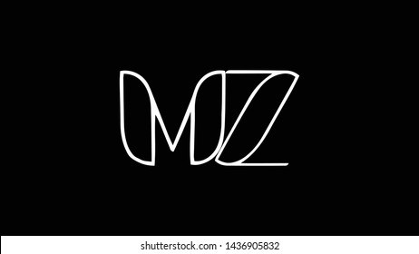 MZ logo design template vector illustration