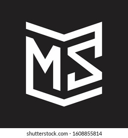 MZ Logo Emblem Monogram With Shield Style Design Template Isolated On Black Background