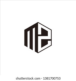 MZ Logo Initial Monogram Negative Space Designs Modern Templete with Black color and White Background